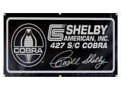 Black Carroll Shelby with snake circle 427 Cobra Banner