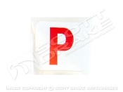 "Paint ok red ""p"" decal"