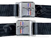 1964-73 Seat Belt Set with Mustang Emblem ( Pair)