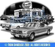 1965 FASTBACK MUSTANG AT GULF STATION